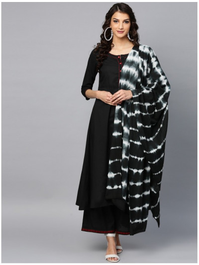 black designer kurta with plazzo and dupatta