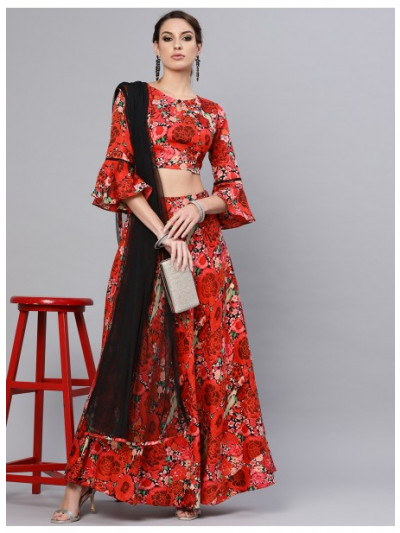 Red Printed Lehenga With Choli And Dupatta