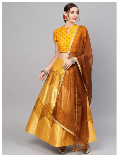 Mustard Gold Self Design Lehenga With Blouse And Dupatta