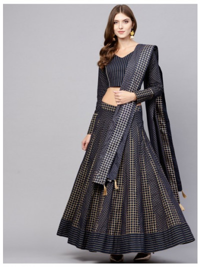 Navy Blue Gold Printed Lehenga With Choli & Dupatta