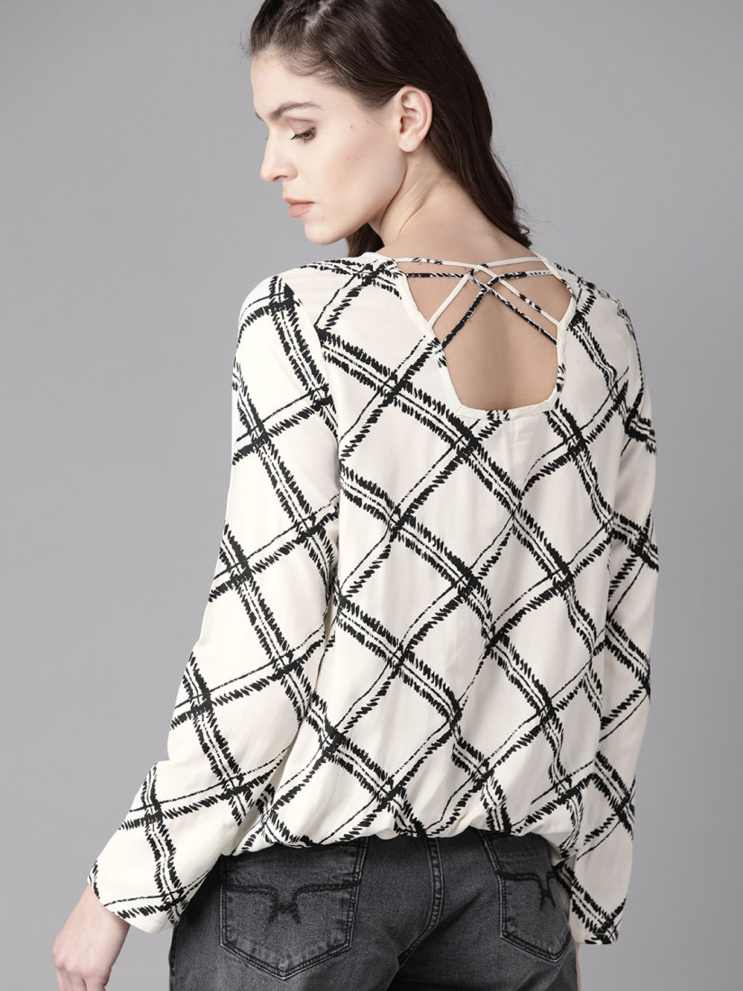 Women Off-White & Black Checked Styled Back Top