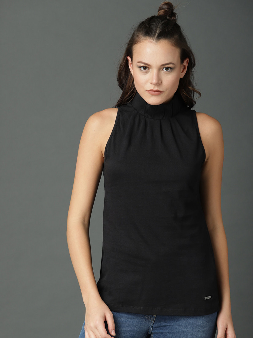 Women Black Solid Top With High Neck