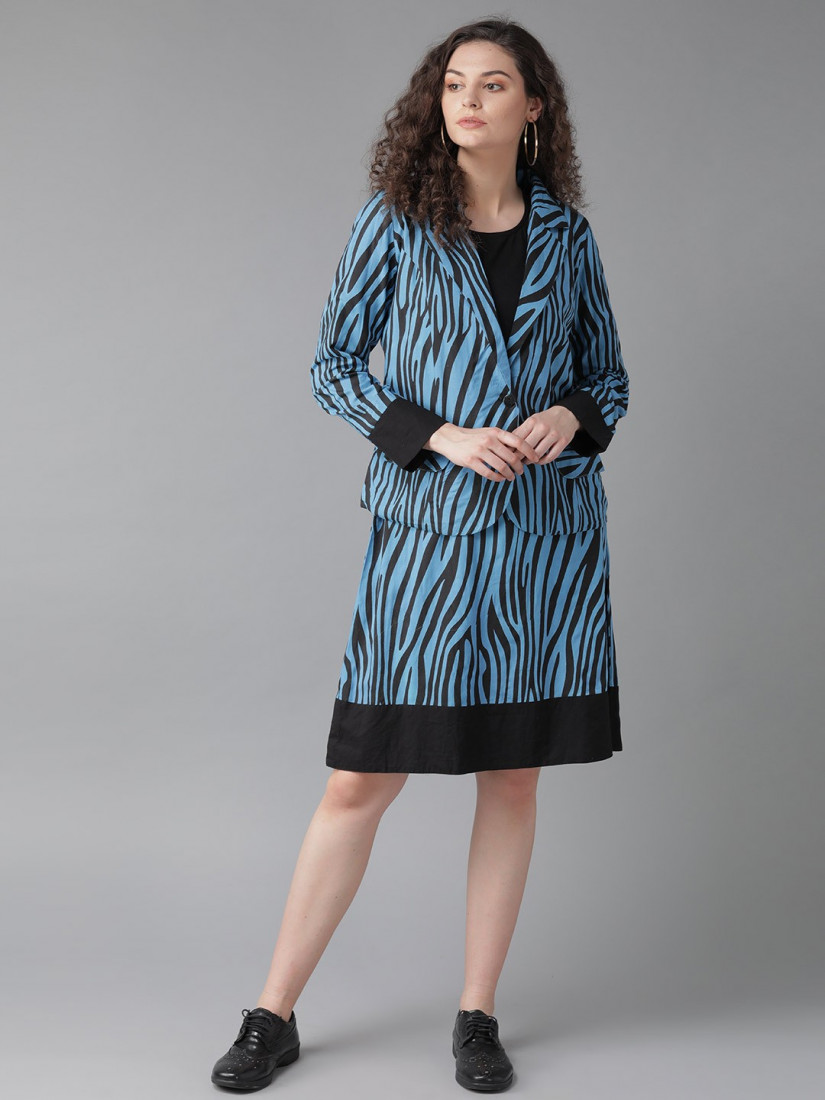 Women Blue & Black Animal Printed A-Line Dress with Jacket