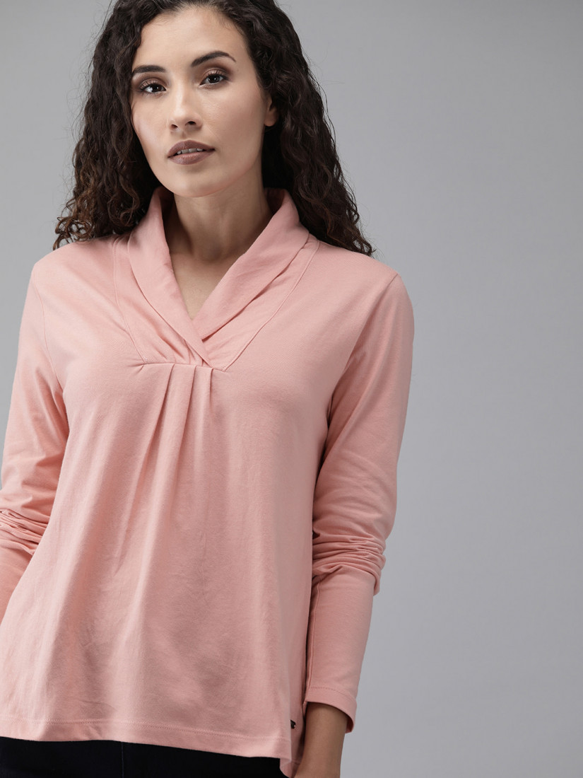 Women Pink Solid Wrap Neck Top