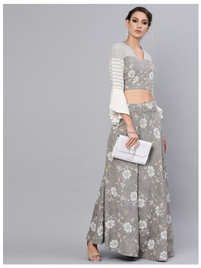 Grey Khari Printed Lehenga With Blouse