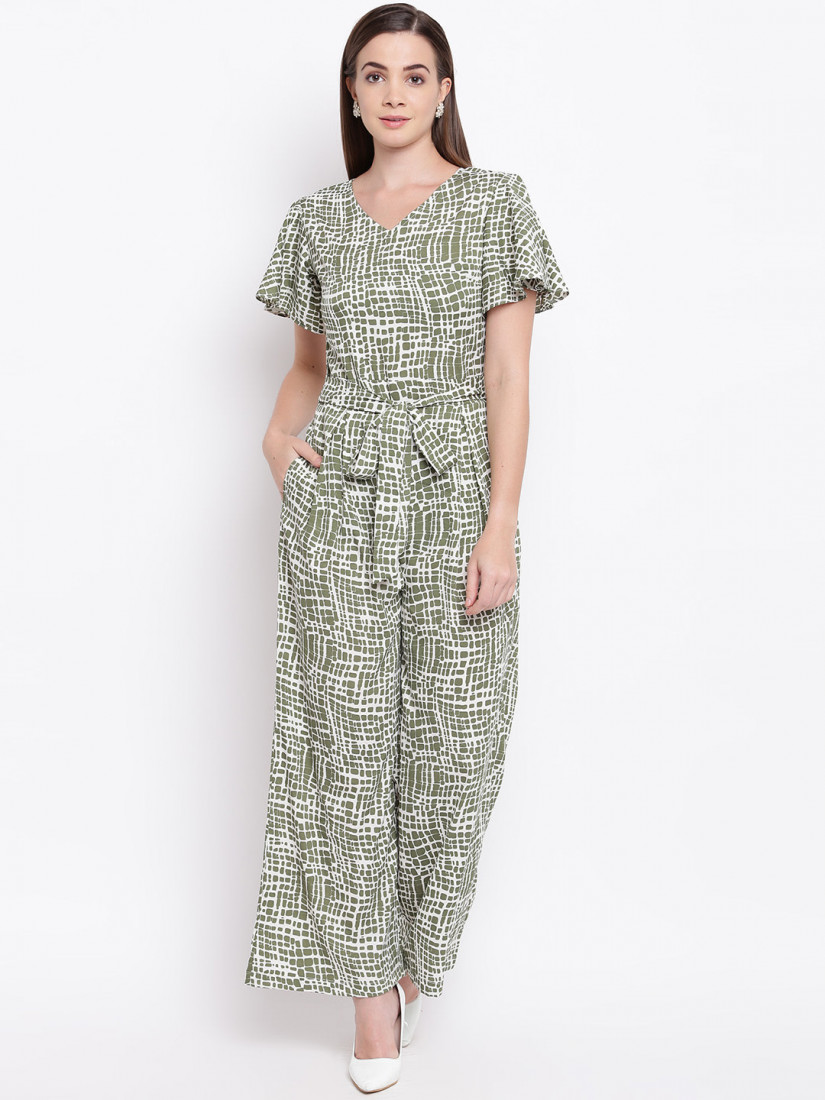 Women Off-White & Olive Green Printed Basic Jumpsuit