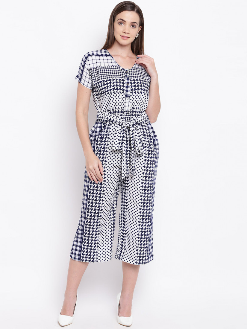 Women White & Navy Blue Printed Culotte Jumpsuit