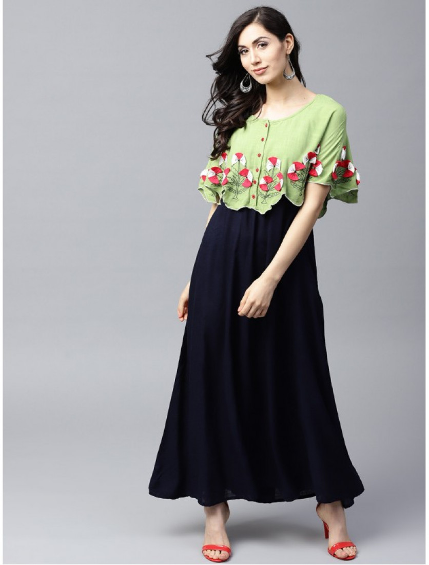 blue and green Designer Long Dresses