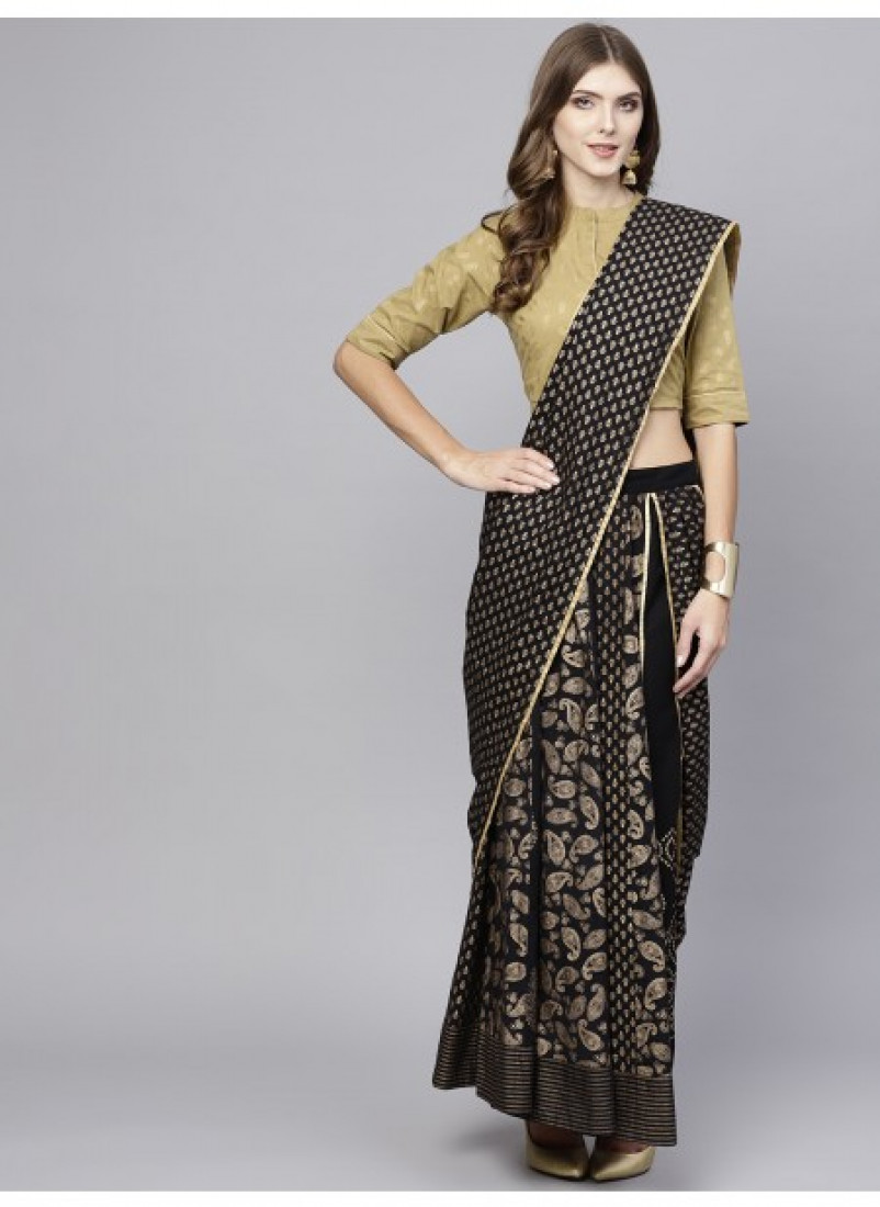 Black Gold Printed Lehenga With Choli And Dupatta