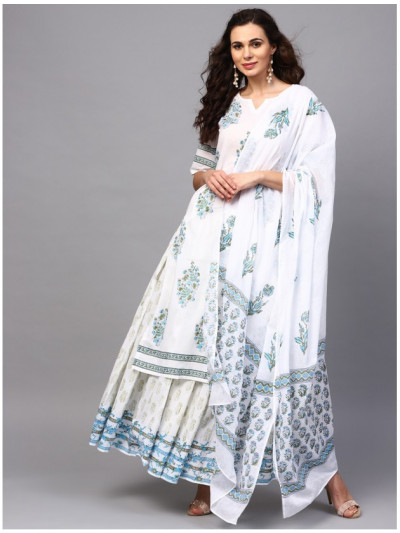 white designer kurta with plazzo and dupatta