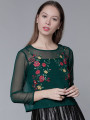 Women Green Embroidered Sheer Top