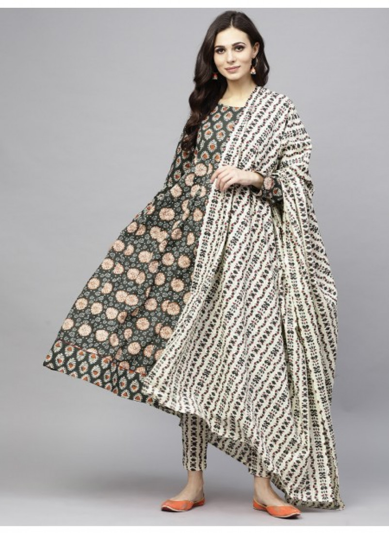 Green Floral Printed Anarkali with Dupatta