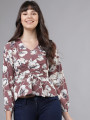 Women Mauve Printed Cinched Waist Top