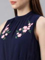 Women Navy Blue Solid Basic Jumpsuit With Embroidered Detailing