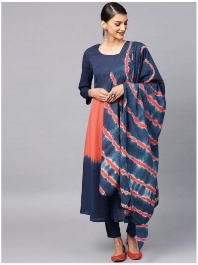 blue designer kurta with pants and dupatta
