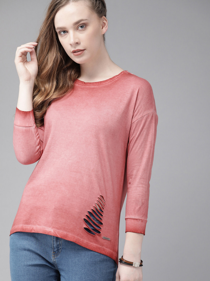 Women Pink Dyed Top