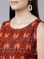 Red Stylish Printed Maxi Gown