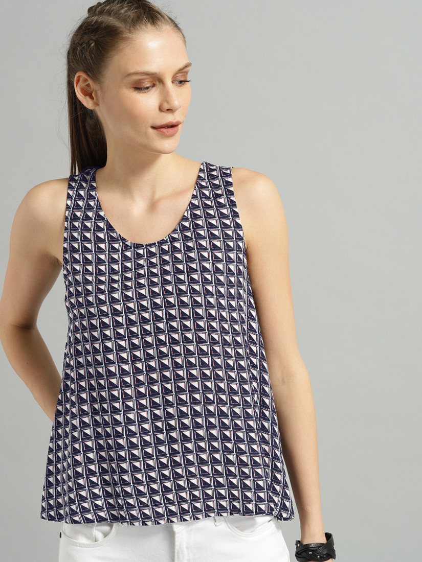 Women Navy & White Printed Top