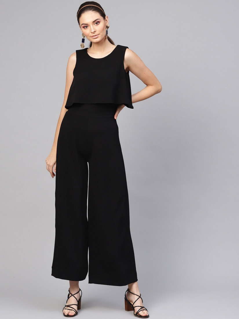 Women Black Solid Layered Basic Jumpsuit