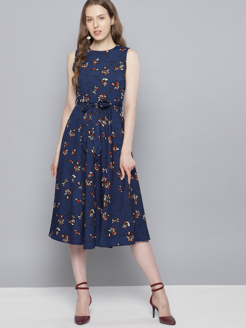 Women Navy Blue Printed Fit and Flare Dress
