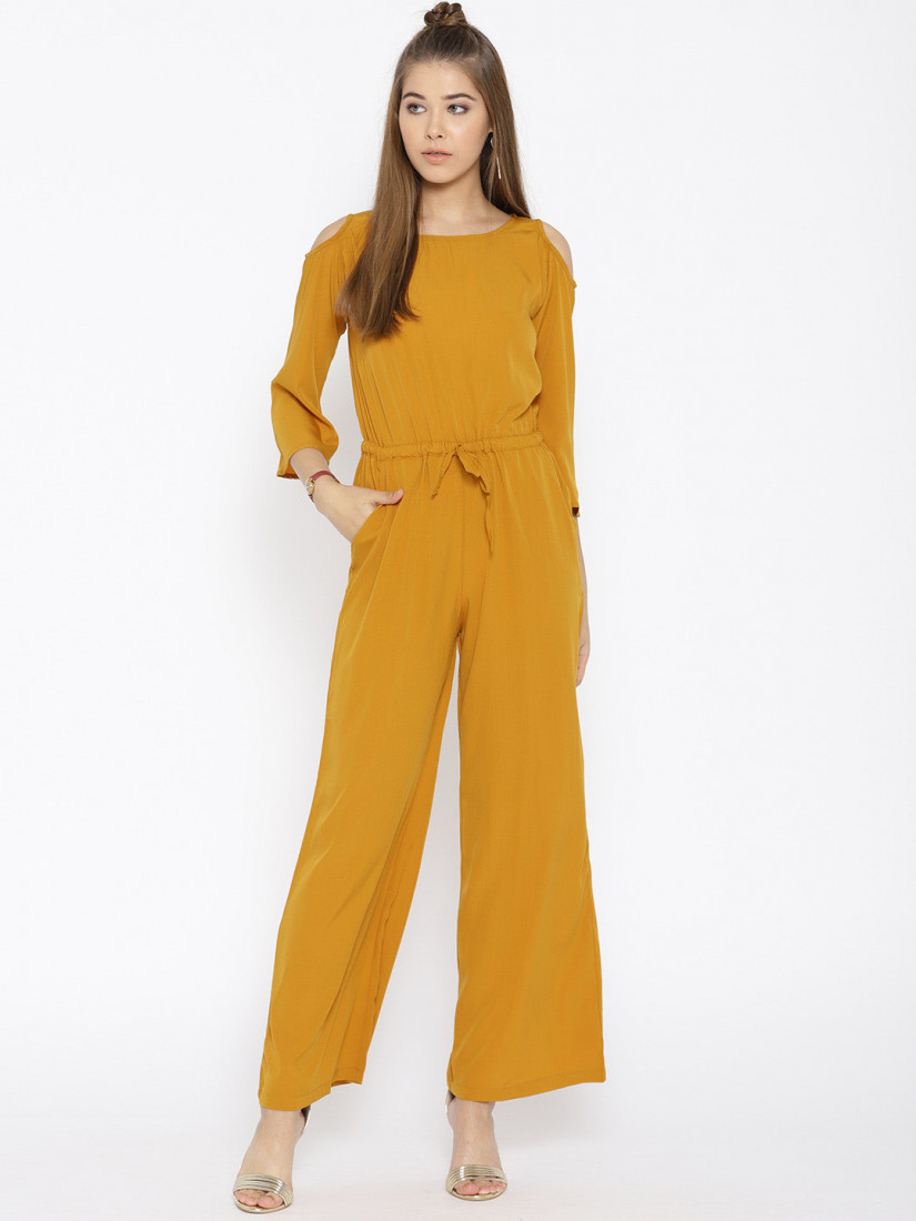 Mustard Yellow Solid Cold-Shoulder Jumpsuit