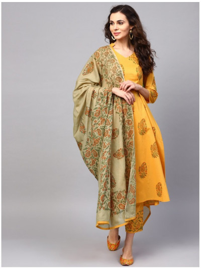 yellow designer kurta with pants and dupatta