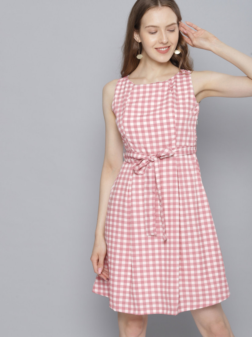 Women White & Pink Checked Fit and Flare Dress
