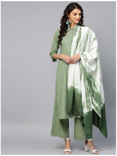 green designer kurta with plazzo and dupatta