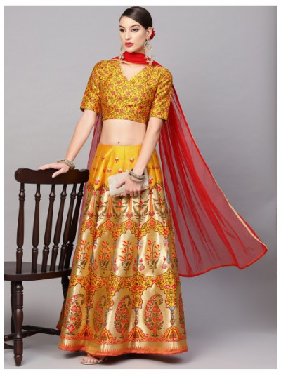 Musatrd Gold Self Designed Lehenga With Blouse & Dupatta