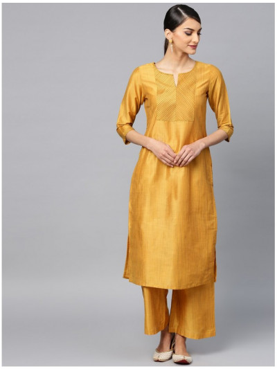 yellow designer kurta with plazzo