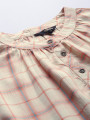 Women Cream-Coloured & Peach-Coloured Checked Top