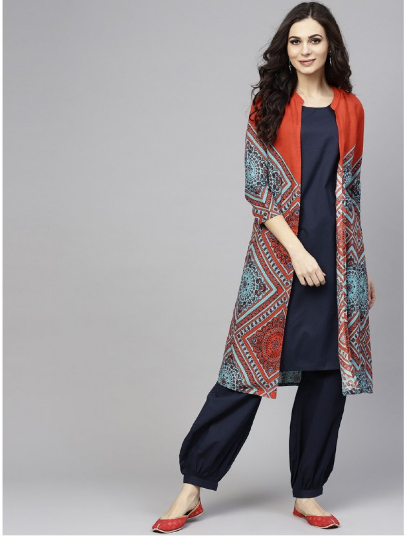 blue designer kurta with plazzo