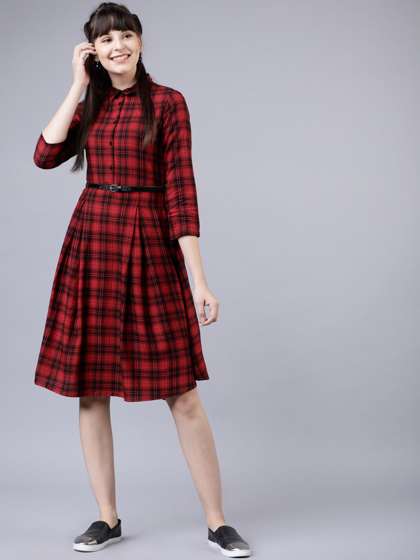 Women Red & Navy Blue Shirt Dress