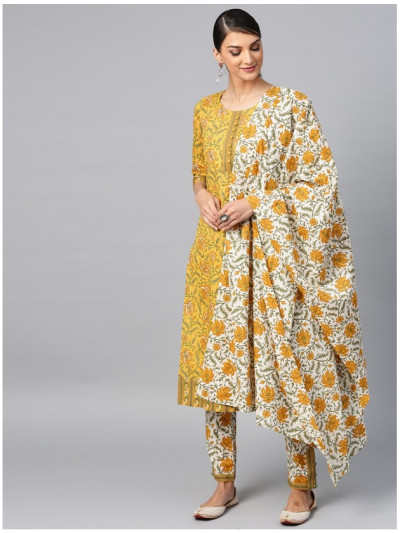 yellow designer kurta with pantsand dupatta