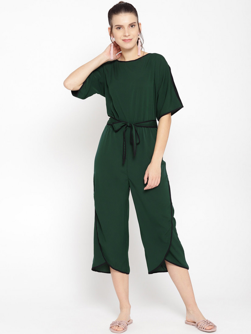 Women Green Solid Culotte Jumpsuit