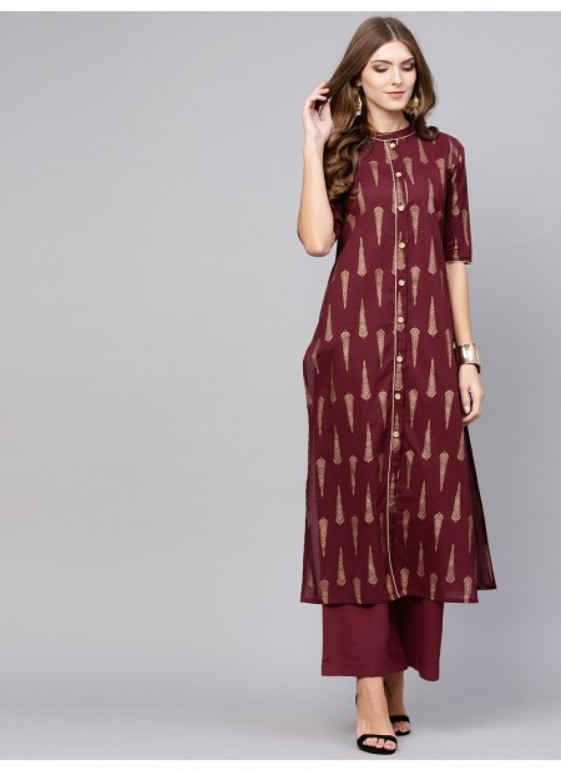 Maroon Gold Printed Button down Palazzo
