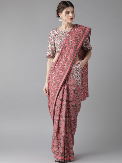 Pink Charcoal Grey Printed Saree