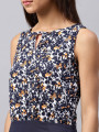 Women Navy Printed Sheath Dress