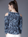 Women Navy Blue Printed Top