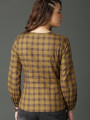 Women Olive Green Checked Top
