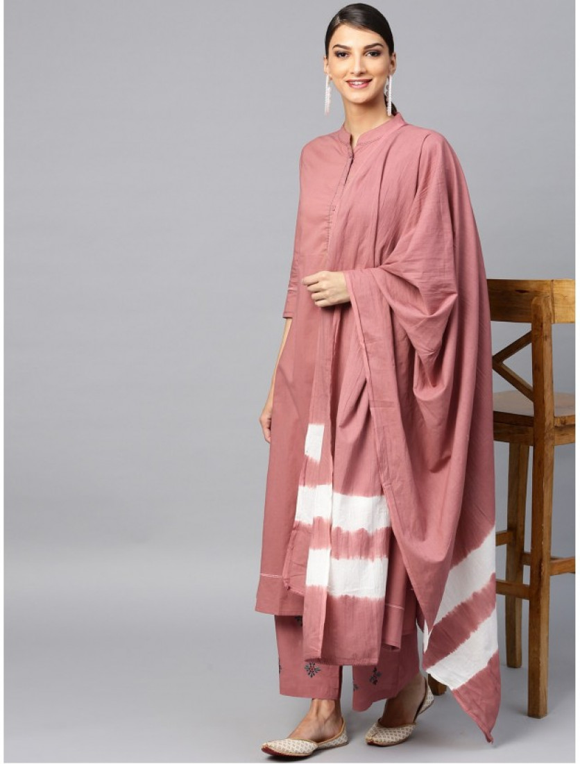 pink designer kurta with plazzo and dupatta