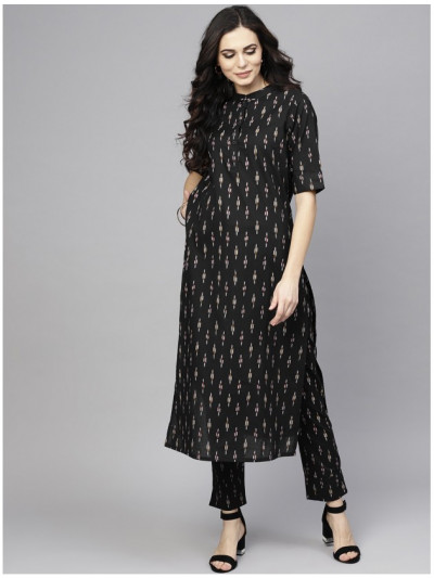 black designer kurta with plazzo