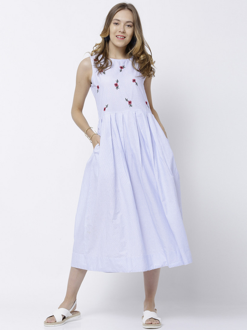Women Blue & White Solid Midi Dress
