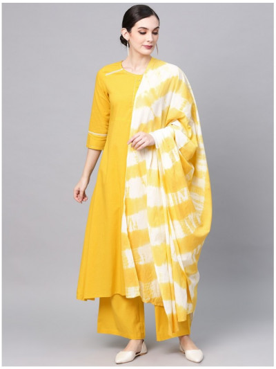 yellow designer kurta with plazzo and dupatta