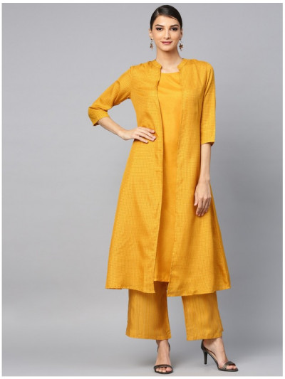 yellow designer kurta with plazzo and jacket