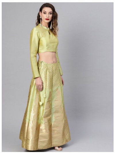 Lemon Green Self Designed Kali Lehenga With Choli & Dupatta
