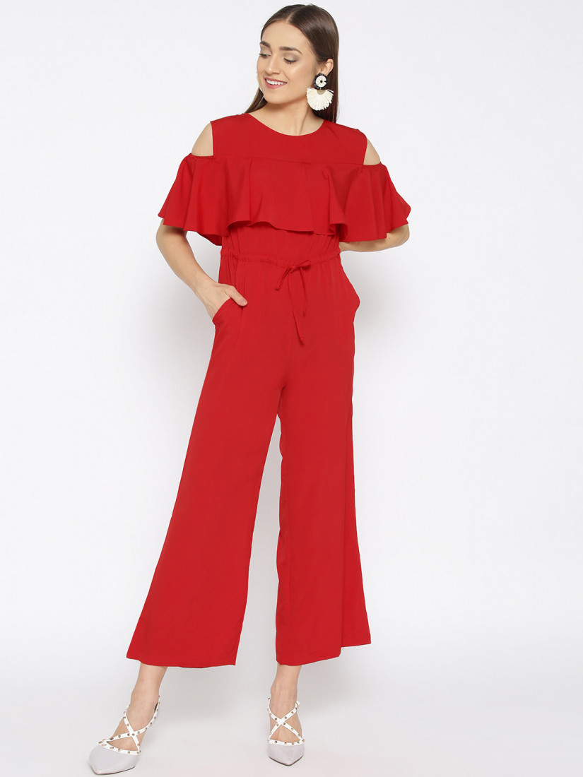 Women Red Solid Basic Jumpsuit