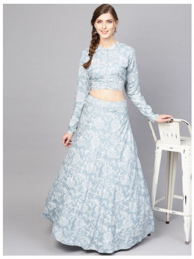 Blue Khari Print Lehenga With Top