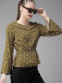 Women Olive Green & Off-White Printed Cinched Waist Top