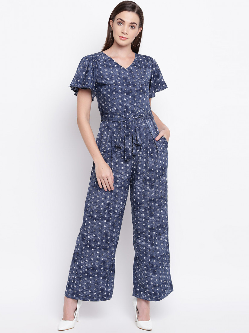 Women Navy Blue & White Printed Basic Jumpsuit